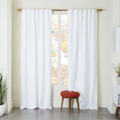 "Belgian Flax Linen Curtain - White - Blackout Lining- 96"" - West Elm"
