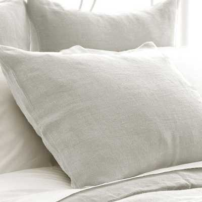 STONE WASHED LINEN PEARL GREY SHAM - king - Pine Cone Hill