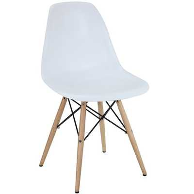 White Plastic Side Chair with Wooden Base - Overstock