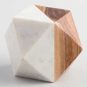 Wood and Marble Geometric Paperweight - World Market/Cost Plus