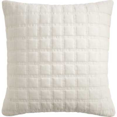"""Quadro quilted natural 18"""" pillow with feather-down insert - CB2"""
