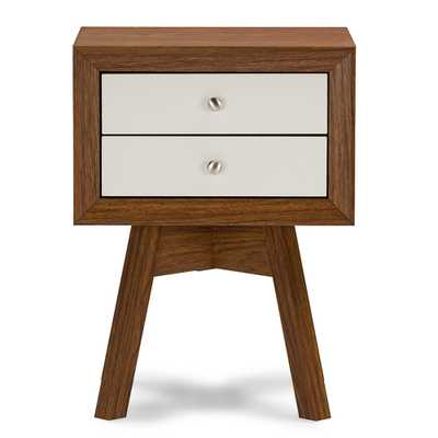 BAXTON STUDIO WARWICK TWO-TONE WALNUT AND WHITE MODERN ACCENT TABLE AND NIGHTSTAND - Lark Interiors