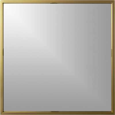 "Gallery brass 33"" square wall mirror - CB2"