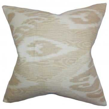 "Fernande Ikat Pillow Neutral - Tan  - 22"" x 22"" - Down Insert - Linen & Seam"