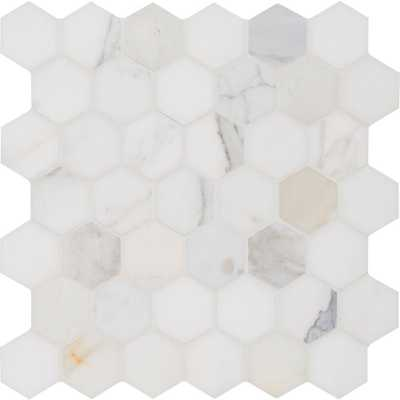 Calacatta Gold Hexagon Polished Marble Mesh-Mounted Mosaic Tile - Home Depot