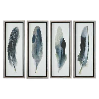 "Feathered Beauty, S/4 - 14""x38"" - Champagne Silver Frame - Hudsonhill Foundry"
