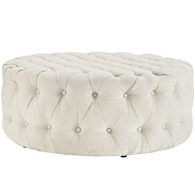 AMOUR FABRIC OTTOMAN IN BEIGE - Modway Furniture