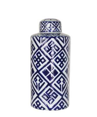 Blue & White Geometric Porcelain Jar - Extra large - High Street Market
