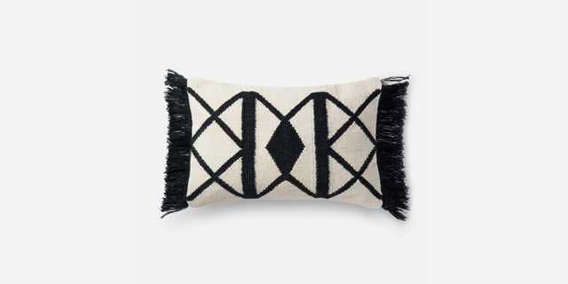 "P0503 BLACK / IVORY Pillow - 13""x21"" - Poly Insert - Loma Threads"