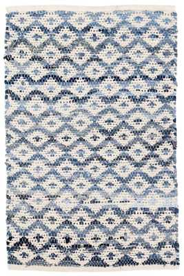DENIM RAG DIAMOND IVORY WOVEN COTTON RUG - Dash and Albert