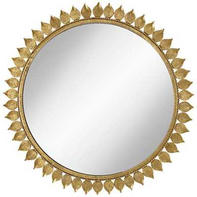 """Malisana Antique Gold Leaf 27"""" Round Wall Mirror - Lamps Plus"""