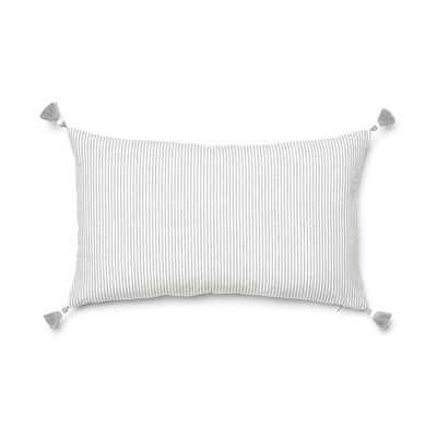 "Grey French Stripe Pillow - 16"" x 26"" - No Insert - Caitlin Wilson"