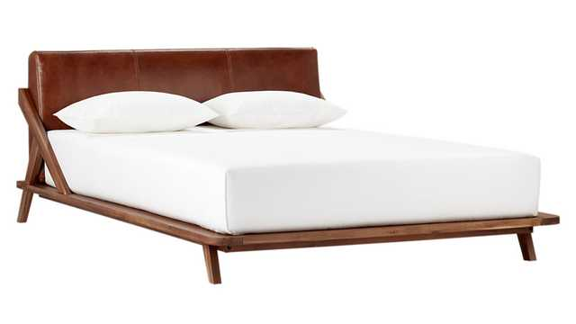 Drommen acacia bed with leather headboard - queen - CB2