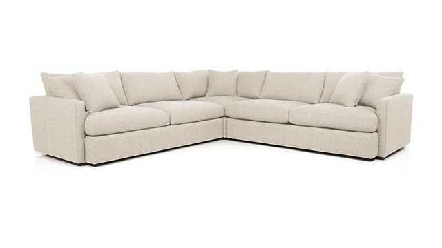 Lounge II 3-Piece Sectional Sofa - Pearl - Crate and Barrel