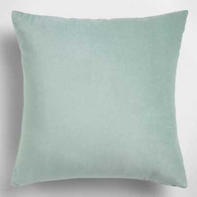 """Ocean Blue Velvet Throw Pillow - 18"""" x 18"""" - Polyester  Insert - World Market/Cost Plus"""