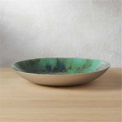 reef hand painted mint glass bowl - CB2