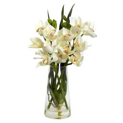Nearly Natural Cymbidium Orchid with Vase - Target
