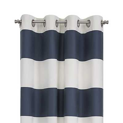 "Alston 50""x96"" Ivory/Blue Striped Curtain Panel - Crate and Barrel"