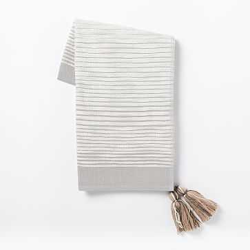 Textured Stripe Throw, Platinum - West Elm