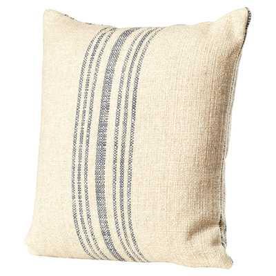 "Stripe Linen Throw Pillow - Annapolis Blue - 18"" H x 18"" W - With insert - Birch Lane"