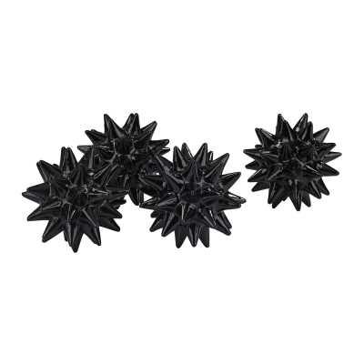 Spiked Orb in Gloss Black - Set of 4 - Rosen Studio