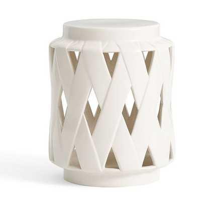 Lattice Ceramic Accent Table - White - Pottery Barn