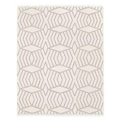 Diamond Stripe Wool Dhurrie - Ivory - West Elm