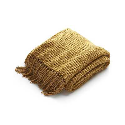 Landyn Gold Chunky Knit Throw - Crate and Barrel
