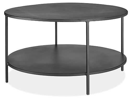 Slim Round Cocktail Tables in Natural Steel - Room & Board