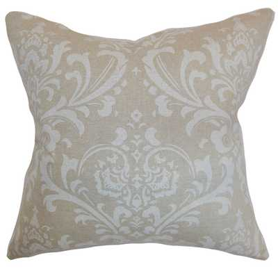 Olavarria Damask Pillow Cloud Linen- polyester insert included - Linen & Seam