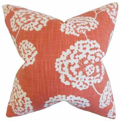 Rafiq Floral Pillow Coral - Down fill - Linen & Seam