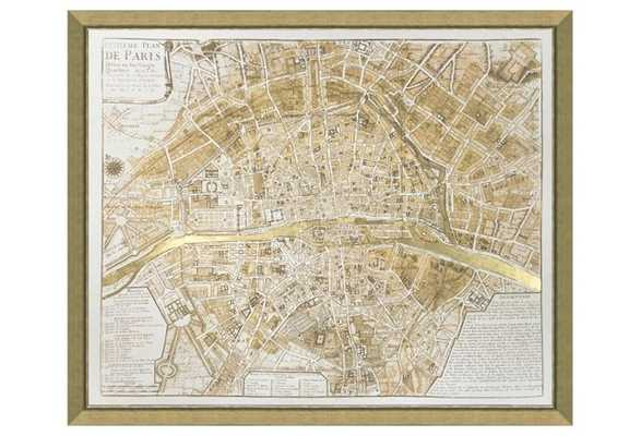 "Real Gold Leaf Paris Map - 34""L x 28""H - Gold Frame - One Kings Lane"
