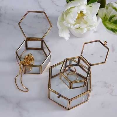 Nesting Glass Shadow Boxes – Hexagon (Set of 3) - West Elm
