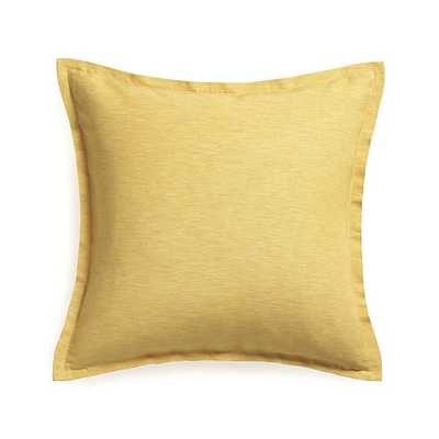 """Linden Saffron Yellow 23"""" Pillow with Down-Alternative Insert - Crate and Barrel"""