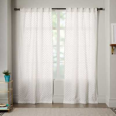 "Sheer Chevron Curtain - White - 96"" - West Elm"
