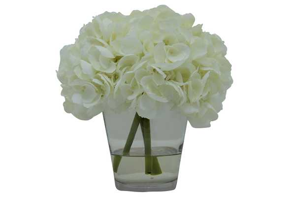 """11"""" Hydrangea in Vase, Handcrafted, Faux, white - One Kings Lane"""