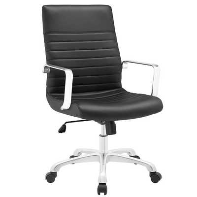 FINESSE MID-BACK OFFICE CHAIR IN BLACK - Modway Furniture