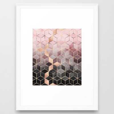 Pink And Grey Gradient Cubes (scoop white frame) - Society6