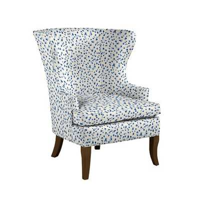 Thurston Wing Chair without Nailheads - Mira blue/driftwood - Ballard Designs