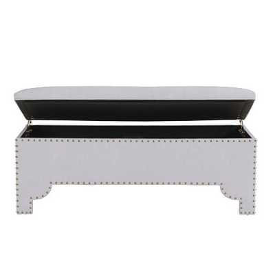 Jasmine Storage Bench - Everyday 10oz Grey Linen - Ballard Designs