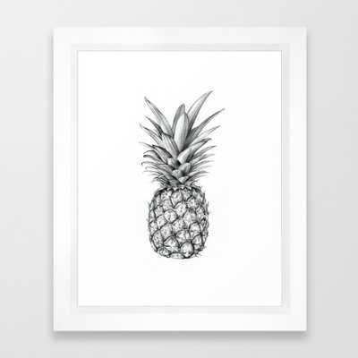 Pineapple - FRAMED ART PRINT VECTOR BLACK MINI - Society6