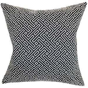 Ocussi Geometric Pillow Navy- Down Insert included - 20'' x 20'' - Linen & Seam