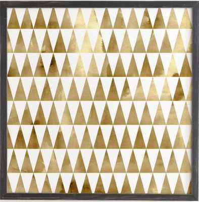 "TRIANGLE PATTERN GOLD Wall Art - 20"" x 20"" - Weathered Black Frame - Wander Print Co."