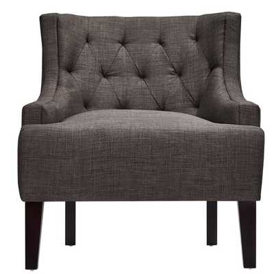 Tess Wingback Tufted Upholstered Club Chair - Dark grey linen - Overstock