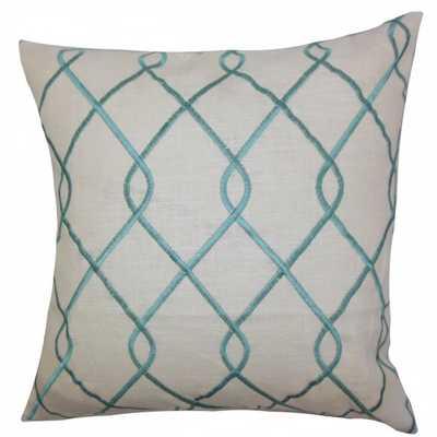 "Jolo Geometric Pillow Aqua Blue - 18"" x 18"" - Down Insert - Linen & Seam"