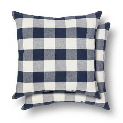 """Gingham Throw Pillow 2 Pack - Threshold™ - Flag blue - 17"""" x 17"""" - Polyester fill - Target"""
