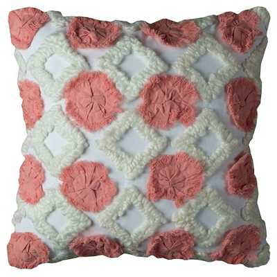 """Rizzy Home Geometric Throw Pillow Ivory / Coral (20"""" X 20"""")-Polyester Insert - Target"""