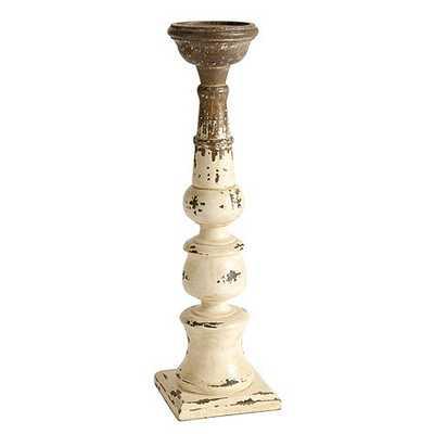 Grand Distressed Wood Candle Holder - Large - Ballard Designs