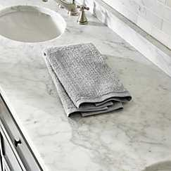 Ribbed Grey Hand Towel - Crate and Barrel