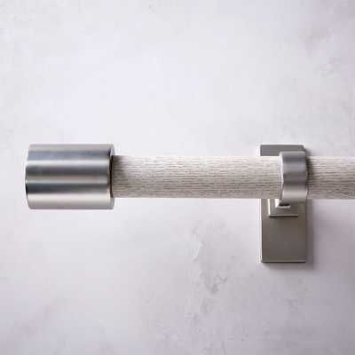 """Mid Century Rod + 3 Brackets, 108"""" - 144"""", White Wash/Brushed Nickel - West Elm"""